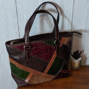 EUC VTG Fossil multicolored patchwork shoulder bag